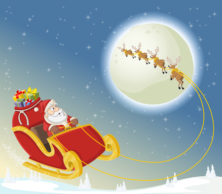 Santa Claus on sleigh with reindeer flying on Christmas night Illustration