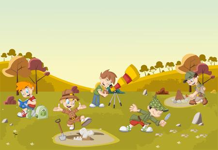 Grupo de muchachos explorador de dibujos animados en el campo verde que lleva diferentes trajes