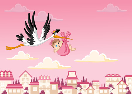 announcements: Cartoon stork delivering a newborn baby girl