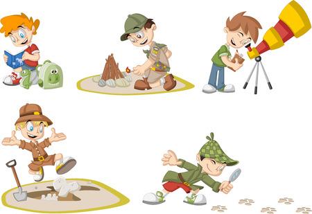 brandweer cartoon: groep van cartoon explorer jongens dragen verschillende kostuums