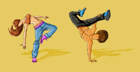 maniaco: Hip hop dancer coppia. Break dance. Vettoriali