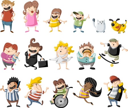 funny people: Colorful cute cartoon happy people Illustration
