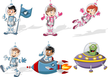 Astronaut cartoon characters in outer space suit with the alien spaceship