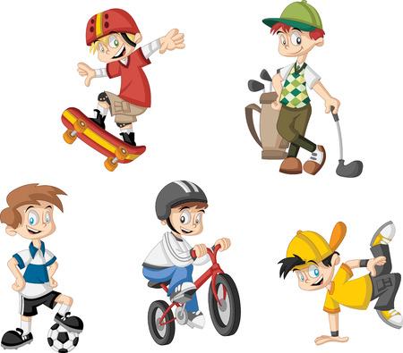niños en bicicleta: Grupo de niños de dibujos animados jugar varios deportes