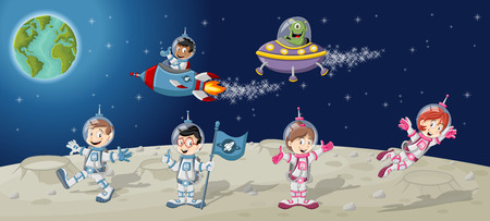 explorer: Astronaut cartoon characters on the moon with the alien spaceship