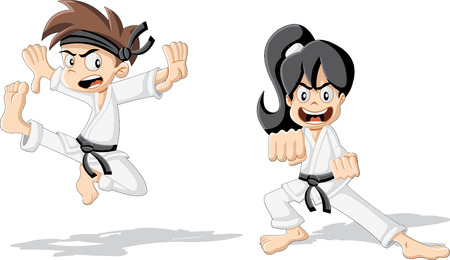 Entrenamiento niños de karate karate de la historieta Foto de archivo - 40324178