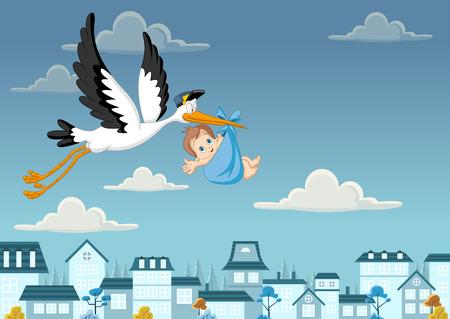 Cartoon cigogne accoucher d'un bébé garçon nouveau-né Banque d'images - 40324181