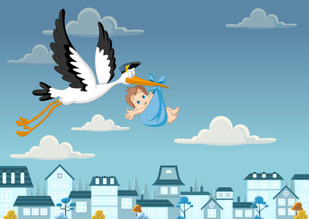 Cartoon stork delivering a newborn baby boy