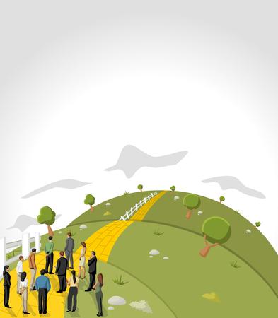 La gente de negocios tratando de cruzar el camino de baldosas amarillas en la colina verde