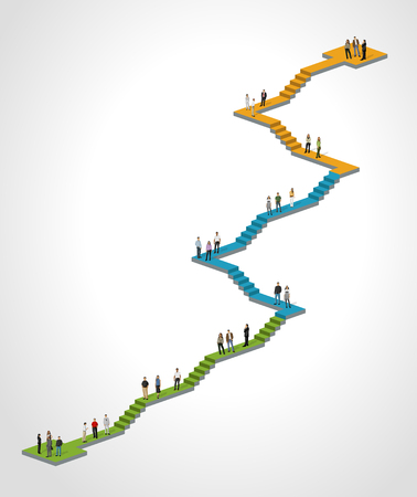 woman stairs: Template for advertising brochure with business people on stair Illustration