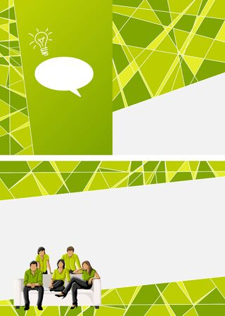 human vector: Green template for advertising brochure with business people