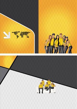 maniaco: Modello di colore giallo e nero per brochure pubblicitaria con uomini d'affari Vettoriali
