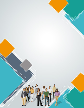 maniaco: Orange and green template for advertising brochure with business people