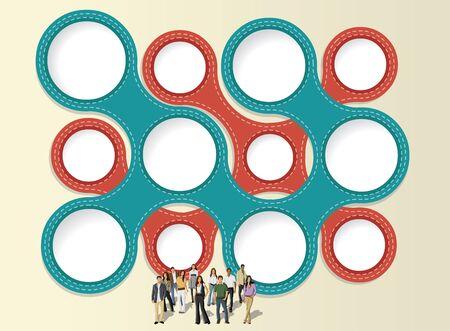 maniaco: modello colorato per brochure pubblicitaria con uomini d'affari