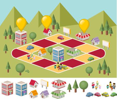 brettspiel: Brettspiel mit Leuten auf die Stadt. Gr�nen Park. Illustration