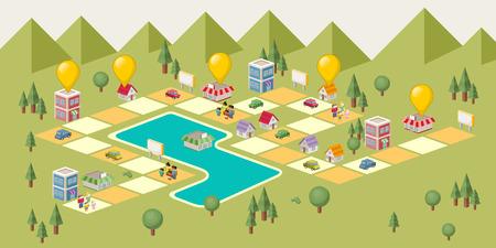 Brettspiel mit Leuten auf die Stadt. Grünen Park. Standard-Bild - 42585472