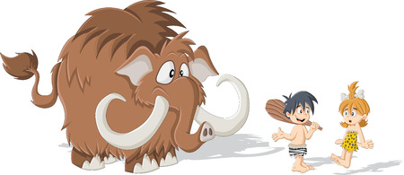 neanderthal women: Cartoon caveman and cave woman with the Mammoth. Stone age children.