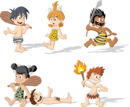 Croup of cartoon cavemen. Stone age children.