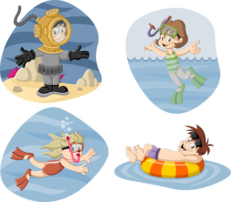 diving: Kids wearing Scuba diving suit. Cartoon divers. Illustration