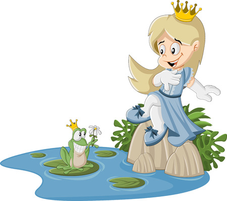 frog queen: Cartoon princess and frog on a swamp