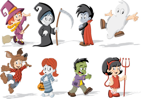 devil girl: Cartoon children wearing costumes of classic Halloween monster characters