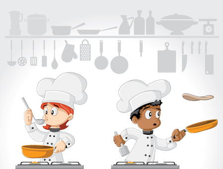 Cartoon gourmet chefs cooking food on white kitchen.