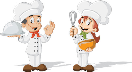 preparing food: Cute cartoon children cooking chefs