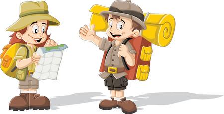 niño con mochila: Niños lindos de la historieta en equipo del explorador