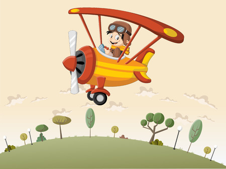 Cartoon boy pilot on the airplane flying over green hill