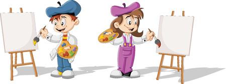 Los niños de dibujos animados pintura lienzo en blanco sobre un caballete de madera Foto de archivo - 42585486