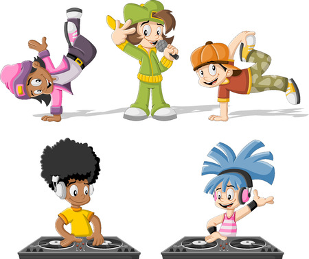 baile hip hop: Bailarines de hip hop de dibujos animados con una reproducción de música de DJ y cantante