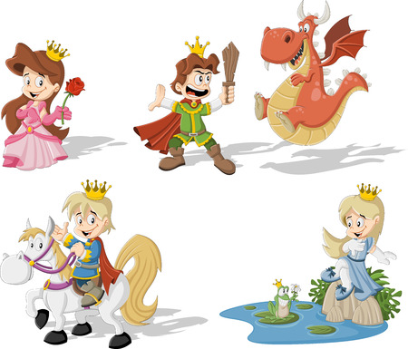 Princesses and princes with cartoon dragon and frog