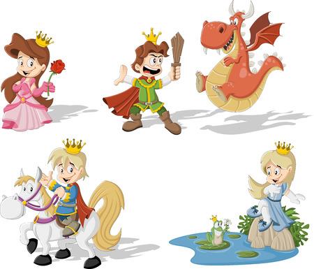 Princesses and princes with cartoon dragon and frog