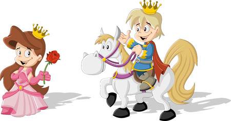 Cartoon prince with the prince riding a horse