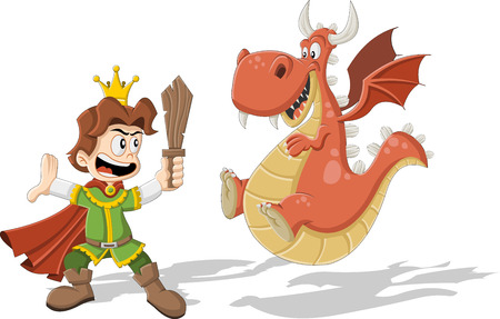 flying dragon: Cartoon prince with flying dragon