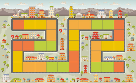 gibier: Jeu de société avec un chemin de bloc sur la ville avec des gens Illustration