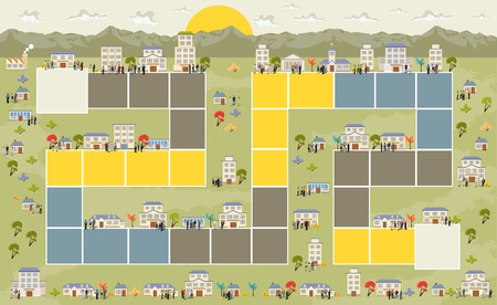 Board game with a block path on the city with people  イラスト・ベクター素材