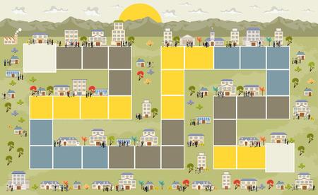 人と街のブロックのパスを持つボードゲーム  イラスト・ベクター素材
