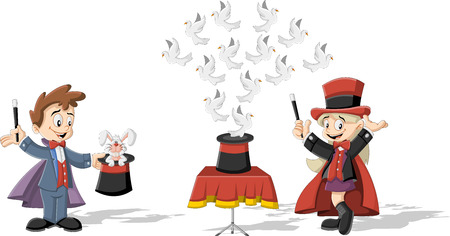 Cartoon magician kids holding magic wands performing tricks with animals