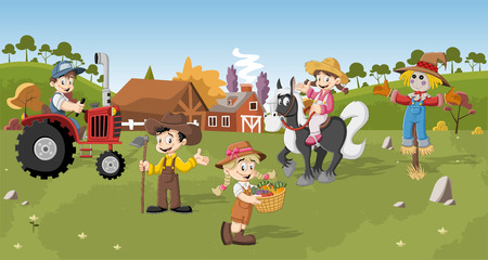 hoe: Group of cartoon farmers working