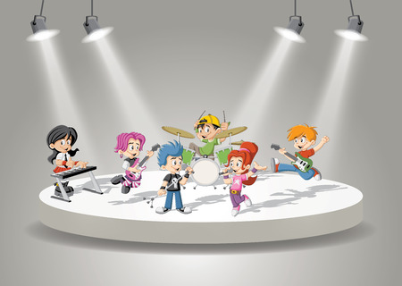 Band with cartoon children playing rock'n'roll on stage Vectores