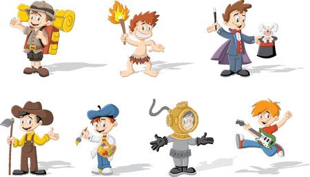 brandweer cartoon: Groep van cartoon jongens dragen verschillende kostuums