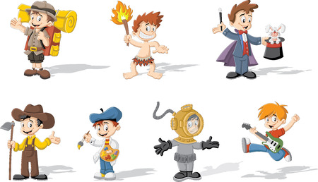 explorer: Group of cartoon boys wearing different costumes