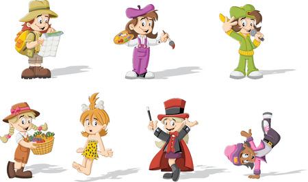 tanzen cartoon: Gruppe von Comic-M�dchen tragen verschiedene Kost�me