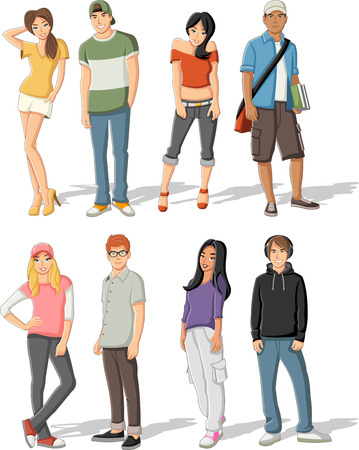 cool girl: Group of cartoon fashion young people. Teenagers.