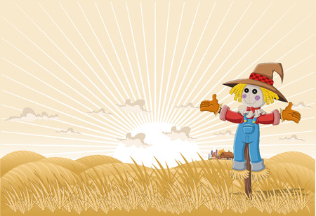 scarecrow: Farm landscape with cartoon scarecrow