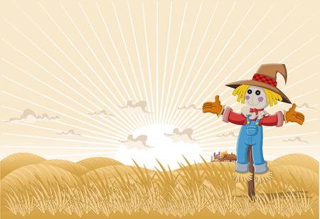 espantapajaros: Paisaje de la granja con el espantapájaros de la historieta