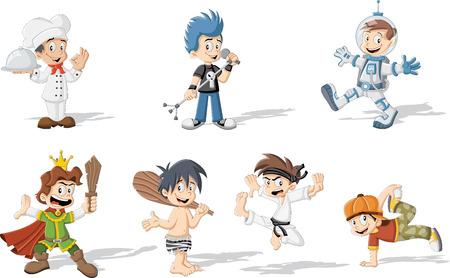 さまざまな衣装を身に着けている漫画の男の子のグループ  イラスト・ベクター素材