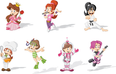 girl punch: Group of cartoon girls wearing different costumes
