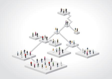 maniaco: Modello per la brochure di pubblicit� con uomini d'affari su struttura gerarchica